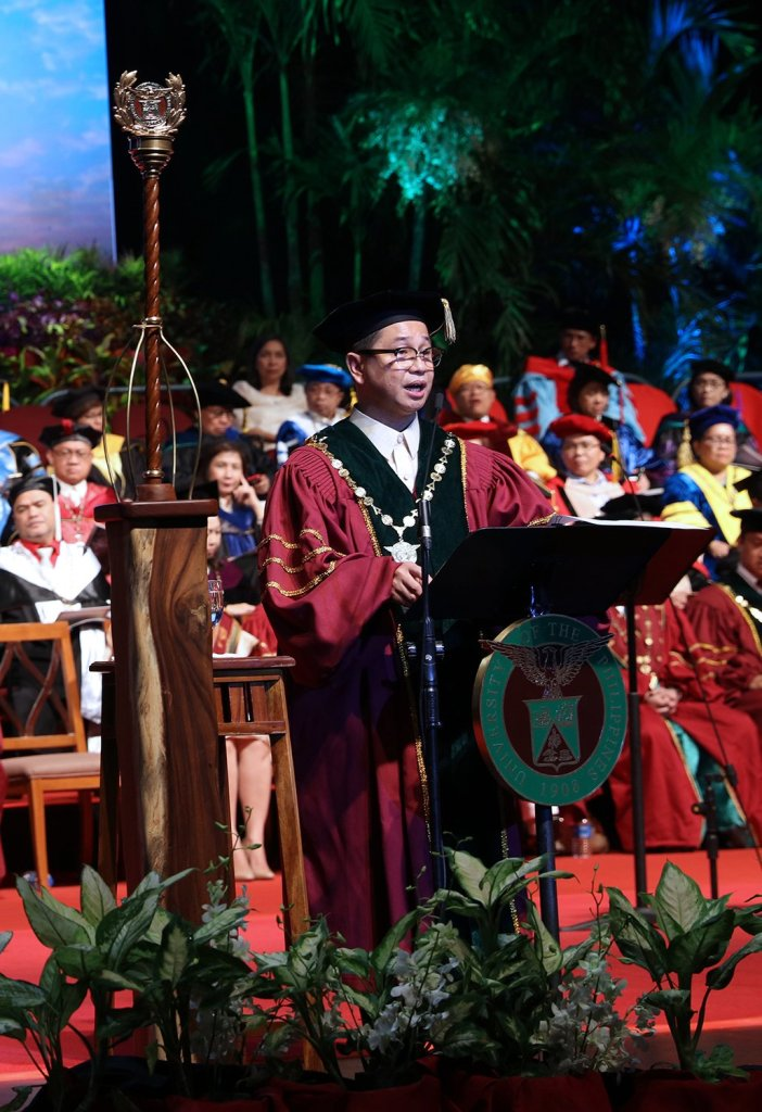 """We recognize that a national university exists not to profit the pocket, but to enrich the mind and to enlarge the soul of our people. We stand firm in the belief that all forms of knowledge benefit humanity, and that part of our mission is to employ that knowledge for social transformation.""—UP President Danilo L. Concepción in his investiture address. (Photo by Misael Bacani, UP MPRO)"