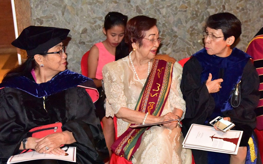From left to right: Dr. Ester Garcia, University of the East President and former CHED and UP BOR Chair; former UP Regent Nelia Gonzalez; and Dr. Maria Cristina Padolina , Centro Escolar University President and former UP Open University Chancellor. (Photo by Bong Arboleda, UP MPRO)