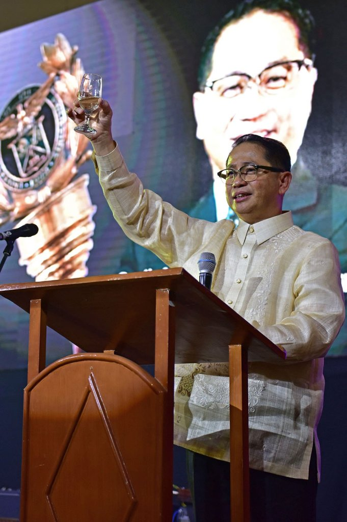 UP President Concepción takes the stage during the reception after the investiture rites. (Photo by Bong Arboleda, UP MPRO)