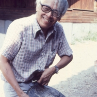 Dr Jose Maceda holding a flat gong during a trip in Bontok (Photo from UP Center for Ethnomusicology)