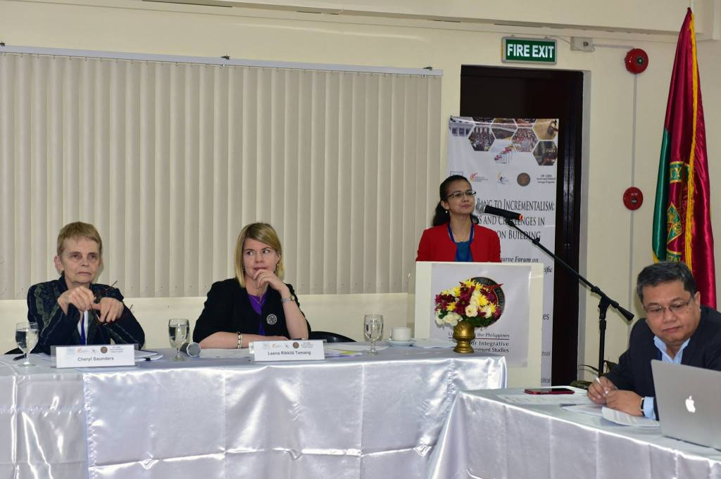 UP Department of Political Science Chair Maria Ela Atienza welcomes the participants of the second Melbourne Forum on Constitution Building in Asia and the Pacific held October 3 and 4, 2017 at the Center for Integrative and Development Studies, UP Diliman, Quezon City. Looking on are Melbourne Law School Laureate Professor Emeritus Cheryl Saunders, International IDEA Regional Program Director Leena Rikkila Tamang, and Philippines resource person Benedicto Bacani. (Photo by Bong Arboleda, UP MPRO)
