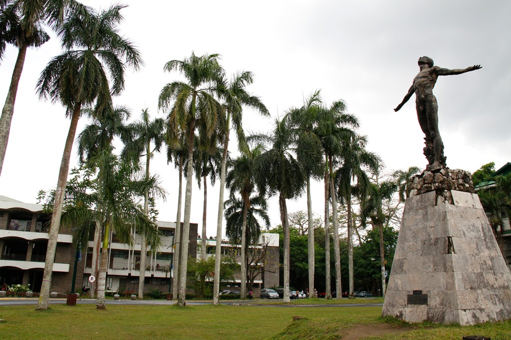 Trees complete the facade with UP Los Baños' Oblation by National Artist Napoleon Abueva. (Photo by Misael Bacani, UP MPRO)