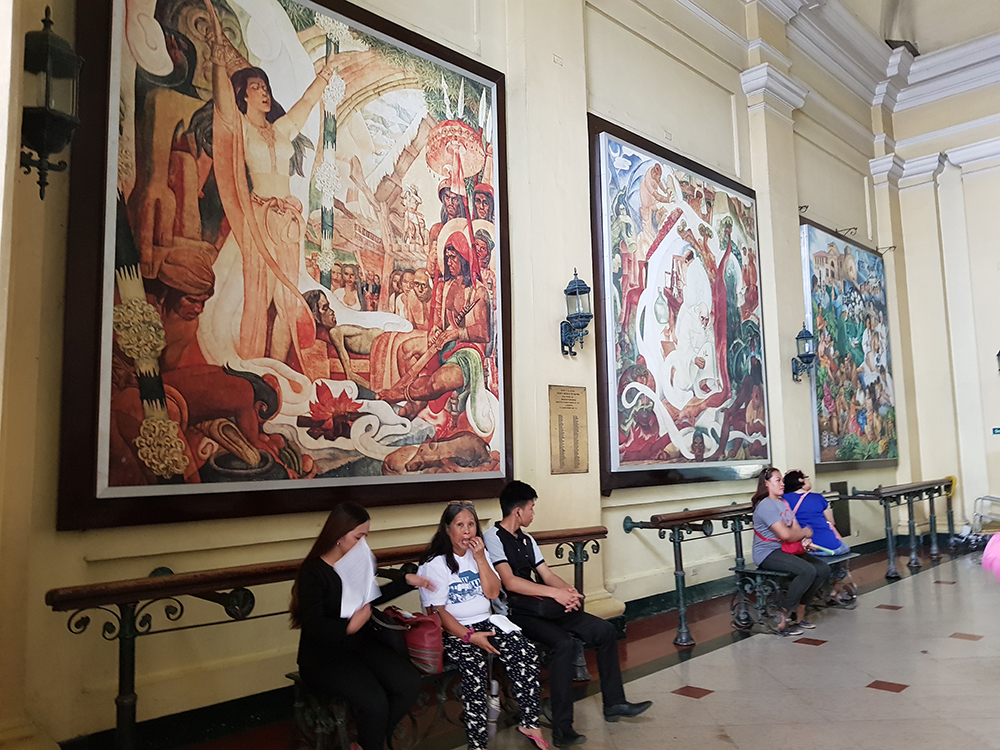 Three of National Artist Botong Francisco's murals in the front lobby of the PGH. (Photo by Jun Madrid, UP MPRO)
