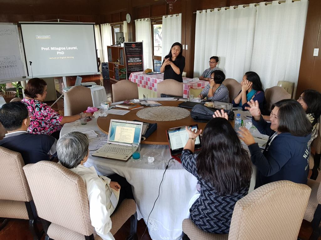Participants of the Padayon writeshop in a session with Dr. Milagros Laurel (Photo by Jun Madrid, UP MPRO)