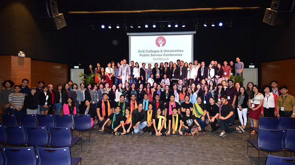 Organizers, participants, presenters, and performers of CUPSCON 2 gather on stage on November 10, 2017, at UP-BGC, Taguig. (Photo by Bong Arboleda, UP MPRO)