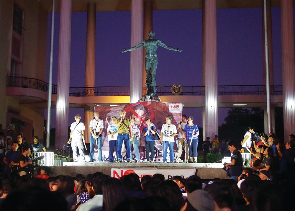 Indignation rally at the UP Diliman Oblation plaza calling for justice for the victims of the Marcos dictatorship and Martial Law era, Nov. 8, 2016 (Photo from UP MPRO)