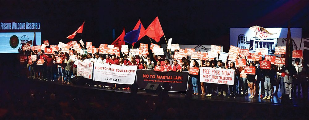 Student leaders welcome the first year students of UP Diliman during the Freshie Welcome Assembly on August 7 at the University Theater (Villamor Hall) in UP Diliman, Quezon City. (Photo by Bong Arboleda, UP MPRO)