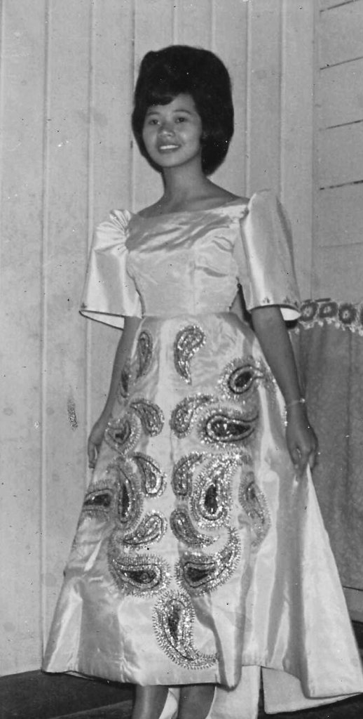 Mimi Cortez in her terno for a rigodon de honor in 1966, where she got to be partnered with Prof. Cesar Mamaril of the Department of Soils, UP College of Agriculture. (Photos courtesy of Prof. Mimosa Cortez-Ocampo)