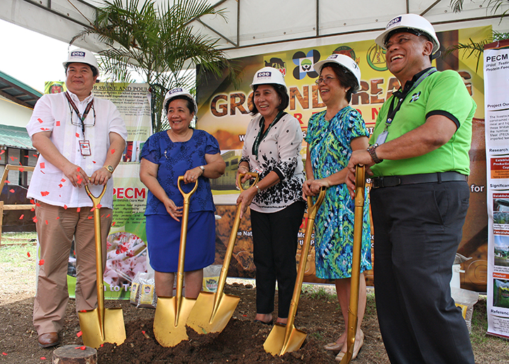 From left to right: UPLB Vice Chancellor for Research and Extension Rex B. Demafelis, Dr. Laura J. Pham, BIOTECH Director Rosario G. Monsalud, Former UPLB  Assistant Vice Chancellor for Research and Extension Susan May F. Calumpang, and PCAARRD Deputy Executive Director Edwin C. Villar lead the groundbreaking ceremony of the Phase I construction of the  PECM pilot plant facility on 25 May 2016 (Photo from Dr. Laura J. Pham)