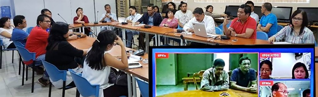 On October 20, 2017, the UP Padayon Office hosted the UP RI and NOAH Center's teleconference with representatives from UP Diliman, UP Manila, UP Baguio, UPLB, UP Mindanao, UP Iloilo and UP Open University. Photo courtesy of the UP Resilience Institute.