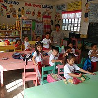 School children with a DSWD teacher in a a classroom in Barangay San Roque, Gapan City, Nueva Ecija. Photo from Judgefloro, taken 16 January 2015 (Phoro from Wikicommons, https://commons.wikimedia.org/wiki/File:Jf9136SanRoque,Gapan_CityNEfvf_10.JPG)