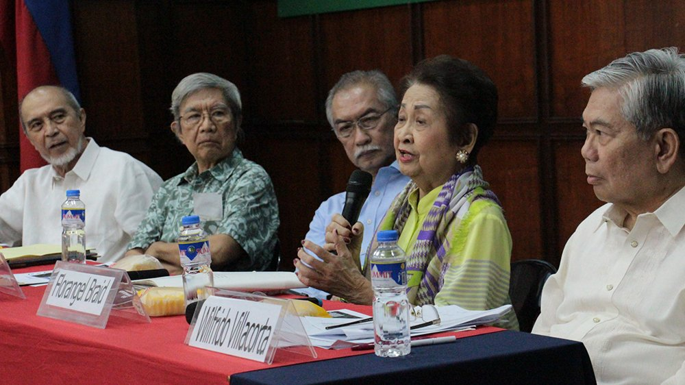 Florangel Rosario Braid, one of the members of the 1986 Constitutional Commission, explains why she opposes Charter Change. (Photo by Jun Madrid, UP MPRO)