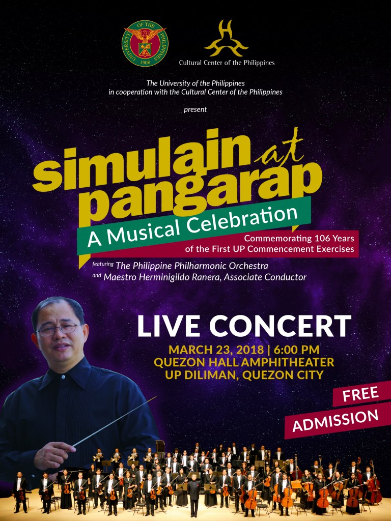 The public will get to see a concert of the Philippine Philharmonic Orchestra (PPO), the country's leading orchestra, live and for free, on March 23, 2018 at 6 PM in the iconic University of the Philippines Quezon Hall Amphitheater in UP Diliman, Quezon City. Spread the word. Invite a friend. Come as you are.