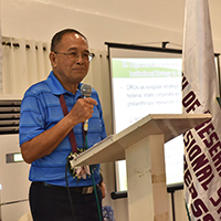 Former UP President Emil Javier gives his inspirational message. (Photo by Bong Arboleda, UP MPRO)
