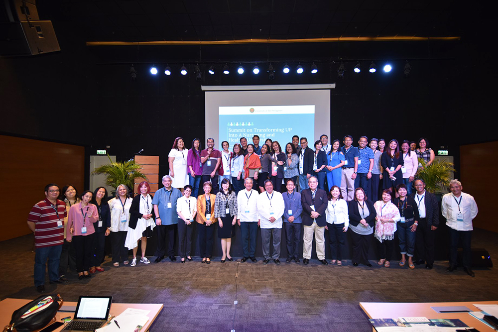 """UP officials, summit participants, resource persons, and organizers of """"Transforming UP into a Nurturing and Healthy University."""" (Photo by Bong Arboleda, UP MPRO)"""
