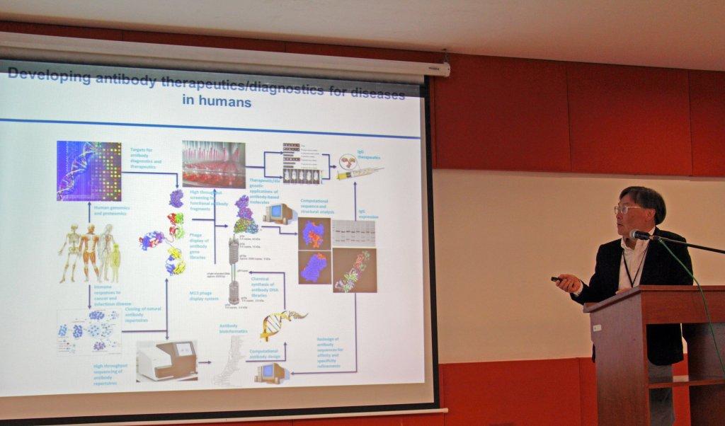 Dr. An-Suei Yang of Academia Sinica's Genomics Research Center talks Antibody Therapeutics. (Photo by Jun Madrid, UP MPRO)