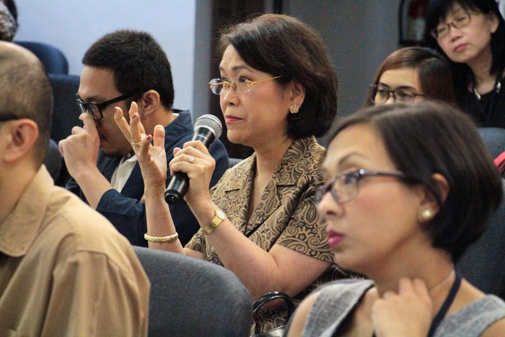 Former UP Vice President for Academic Affairs Gisela Concepcion was one of the guests at the Bilateral Symposium. (Photo by Jun Madrid, UP MPRO)