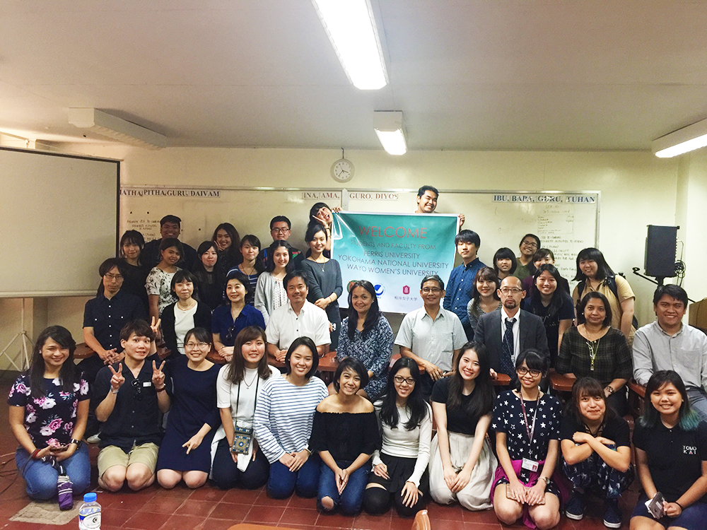 Professors and students from UP, YNU, FU, and WWU who participated in the afternoon lecture on disaster management in the Philippines and Japan pose for a souvenir photo. (Photo courtesy of UPCIS)