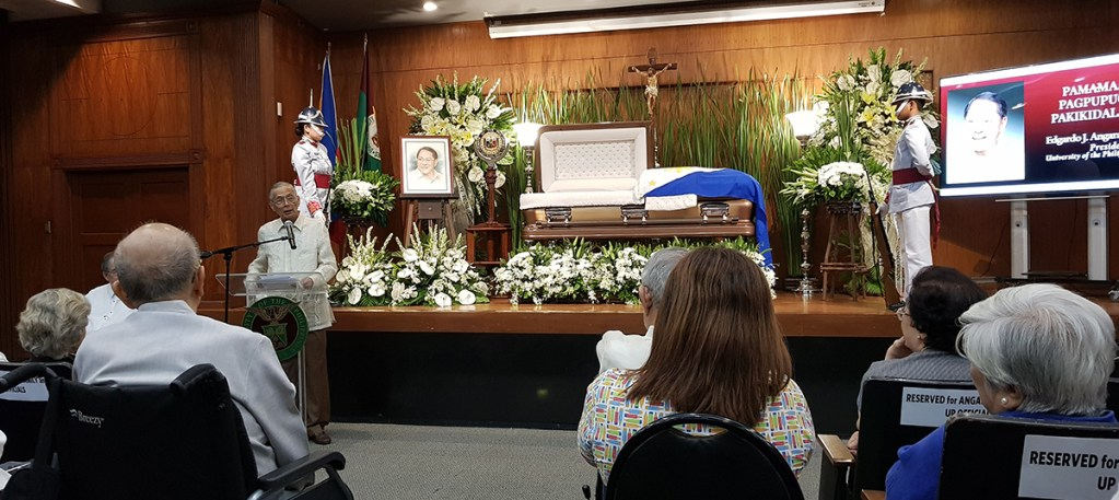 Atty. Victor Lazatin, chair of the UP Law Alumni Association, of counsel of ACCRALAW, and Angara's Sigma Rho Fraternity brother and close friend, recalls their last moments together—which was the night before SEJA passed away. (Photo by Arlyn Romualdo, UP MPRO)