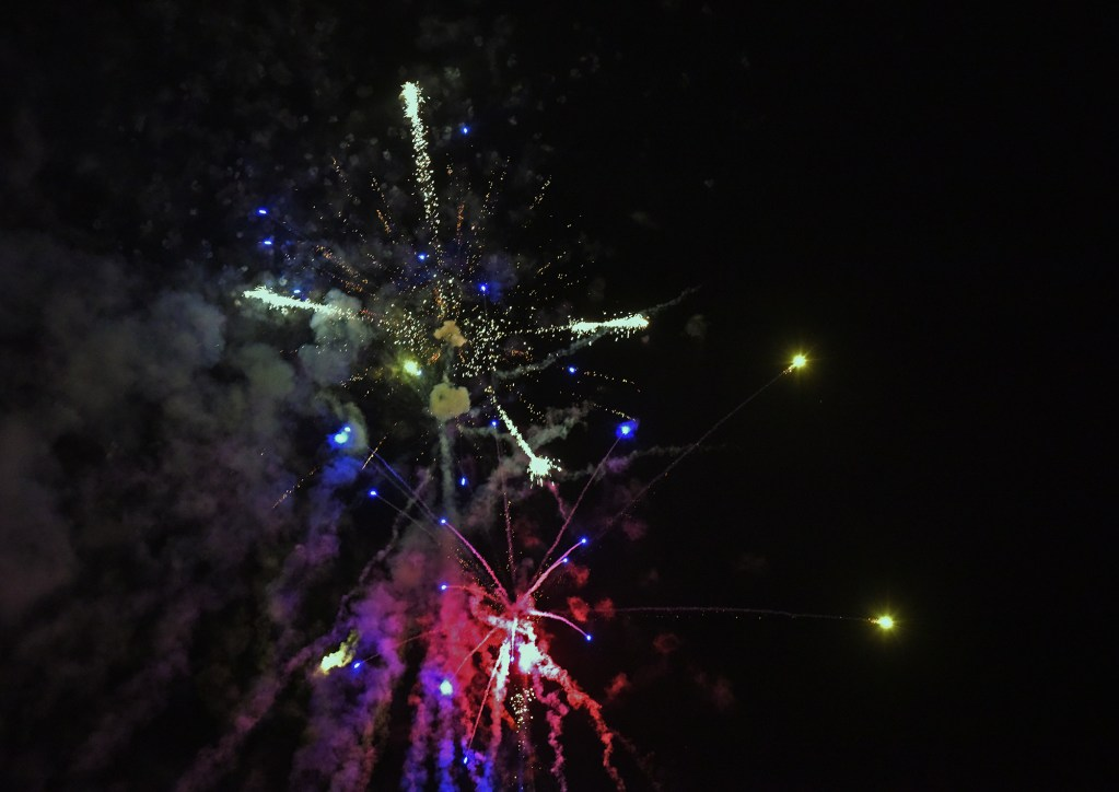 Fireworks enlivening the cookout party
