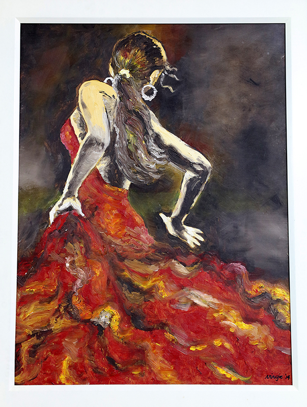 A painting of a flamenco dancer Virgie did for one of her classes at the College of Fine Arts (Photo by Misael Bacani, UP MPRO)
