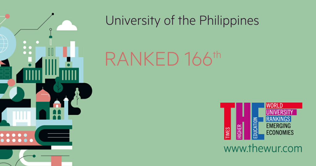 """Of the top 378 higher education institutions (HEIs) from emerging economies in 2018, the University of the Philippines (UP) is ranked 166th, a significant rise from last year's 201st-250th ranking, based on the latest Times Higher Education (THE) World University Rankings. UP is now in the upper half of the top 378 HEIs from countries considered """"advanced emerging"""", """"secondary emerging"""", and """"frontier"""" economies by the London-based global index provider, and which thus excluded HEIs from developed economies. THE Global Rankings Editorial Director Phil Baty announced UP's ranking through a communication sent to the University. """"Your institution's place in this ranking of the best research-led universities among the emerging economy nations is a significant achievement,"""" he said, noting that THE considered institutions from 50 countries, with institutions from only 42 making it to the final 378. The """"THE Emerging Economies University Rankings 2018"""" used the same 13 performance indicators as the THE World University Ranking—where UP made it to the top 601-800—but recalibrated to better reflect the characteristics and development priorities of universities in emerging economies. """"More weight is given, for example, to a university's industry links and international outlook,"""" Baty said. The rankings can be viewed at https://www.timeshighereducation.com/world-university-rankings/2018/emerging-economies-university-rankings."""