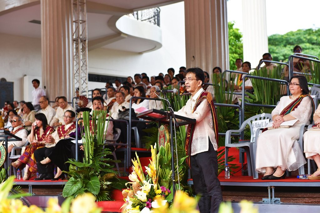UP Diliman Chancellor welcomes the candidates for graduation, their guests, and the University's guests. (Photo by Bong Arboleda, UP MPRO)