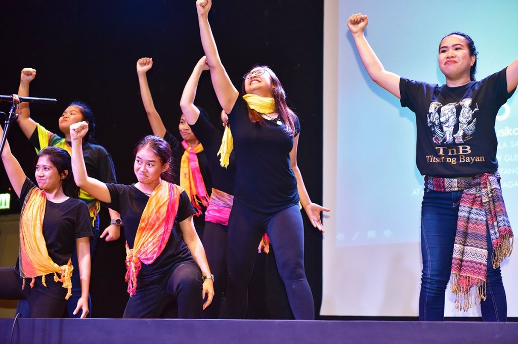 "A short performance on ""Sino ba ang Titser"" from the play ""Titser ng Bayan"" (Photo by Bong Arboleda, UP MPRO)"
