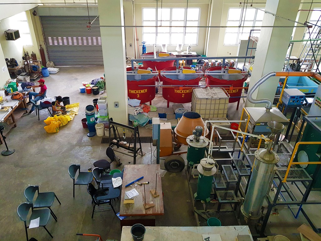 The entire CLINN-GEM pilot facility assembled at the UP Department of Mining, Metallurgical, and Materials Engineering building, where the entire process takes place, from gold extraction to waste treatment. (Photo by Celeste Llaneta, UP MPRO)