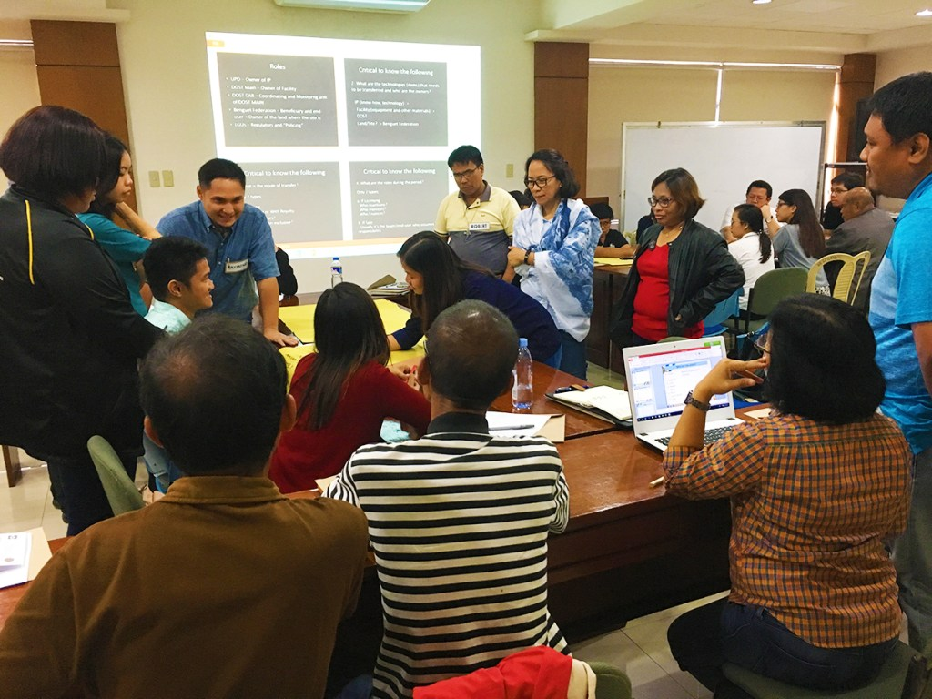 """A """"Training on Policy Advocacy"""" seminar held on November 7, 2015 held at the Lower Gomok Consumers Cooperative Conference Hall in Barangay Ucab, Itogon, Benguet. Thirty-three participants attended, including small-scale miners, partners from DOST-CAR and Benguet ENRO. The main facilitator of the training is a Dr. Oscar """"Oskee"""" Ferrer, professor of the UP-CSWCD, a native of Cordillera, and himself a son of a miner. Photo from the UP-DOST Field Testing Project team."""
