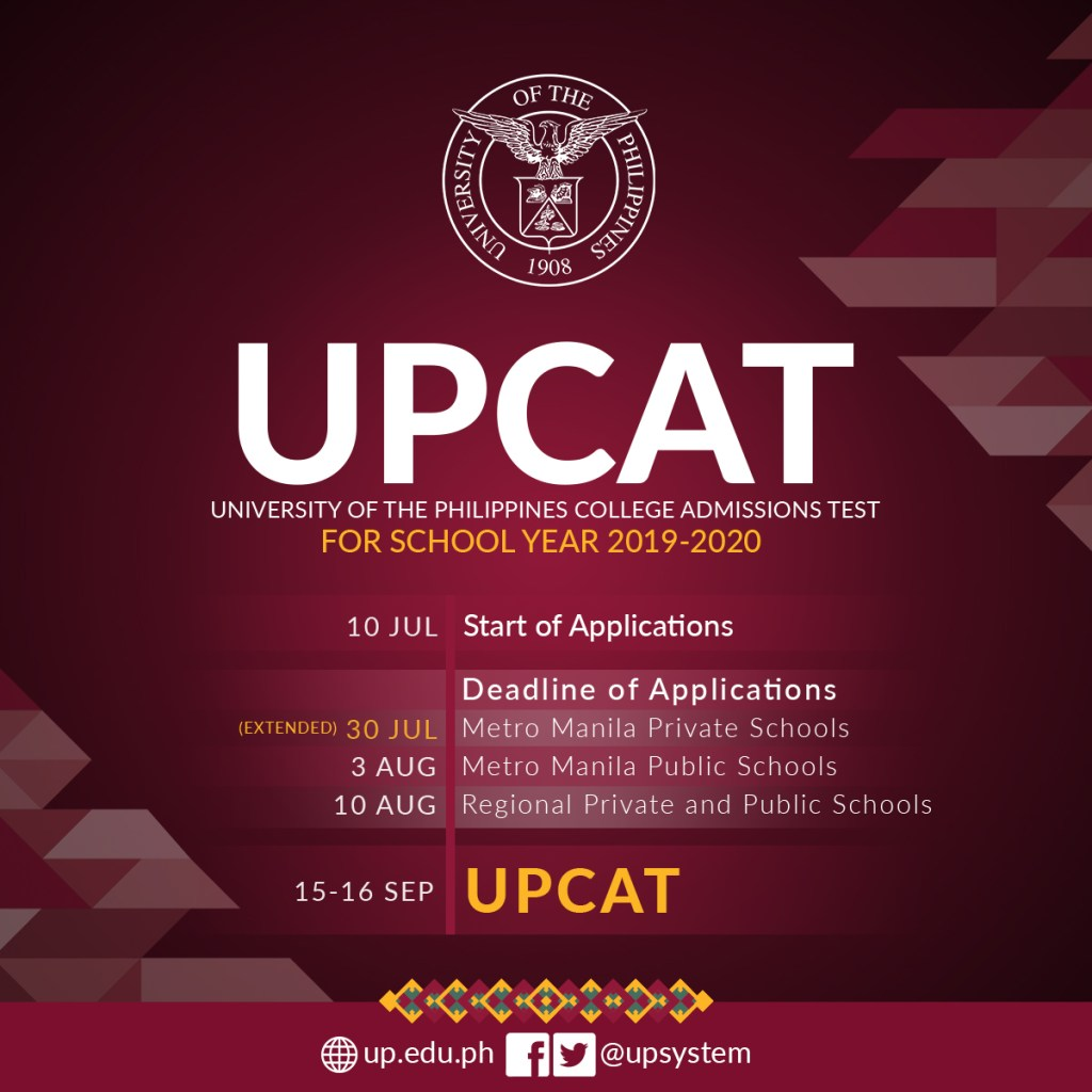 UPCAT 2019 online application extended