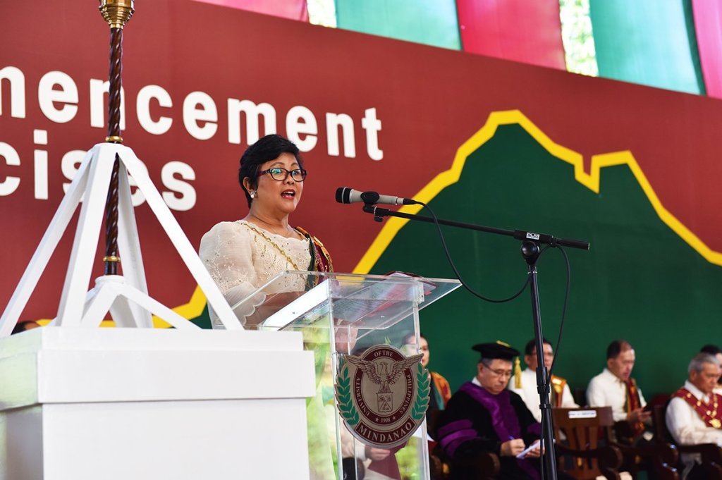UP Mindanao Chancellor Sylvia B. Concepcion addressing the graduates. (Photo by Bong Arboleda, UP MPRO)