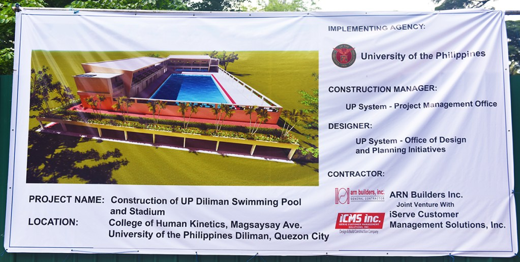 Plan for the UP Diliman Sports Complex Swimming Pool and Stadium as it appears on the project tarp. (Photo by Bong Arboleda, UP MPRO)