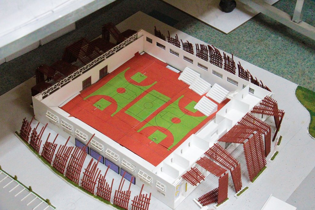 A miniature rendering of the plan for the Davao City-UP Sports Complex Training Gym. (Photo by Jonathan Madrid, UP MPRO)