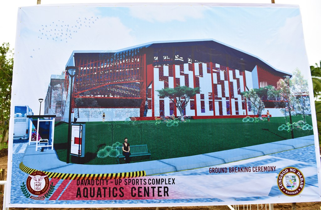 Architectural rendering of the Davao City-UP Sports Complex Aquatic Center as it appears on the project tarp. (Photo by Misael Bacani, UP MPRO)