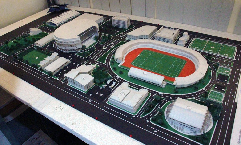 The Davao City-UP Sports Complex as planned, where Structure 1 is the Football and Track Stadium, and Structure 2 is the Training Gym. (Photo by Jonathan Madrid, UP MPRO)