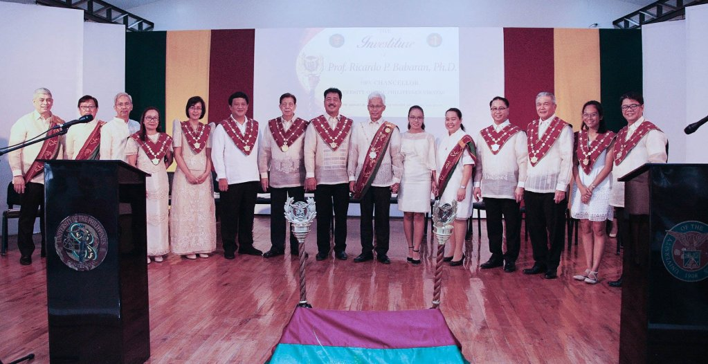 Chancellor Ricardo P. Babaran (7th from right) with the UP Board of Regents and UP officials