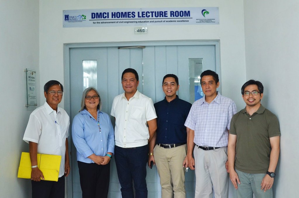 (From left to right) UP Engineering Research and Development Foundation, Inc. Executive Director Alfonso Aliga Jr., UP-ICE Director Maria Antonia Tanchuling, DMCI Homes Assistant Vice President for Marketing Jan Venturanza, Deputy Director for Students and Alumni Jaime Angelo Victor, Deputy Director for Academic Affairs Dr. Karl Vergel, and Deputy Director for Planning, Development and Finance Dr. Errol Quinay at the DMCI Homes Lecture Room of the UP-ICE in Diliman, Quezon City.