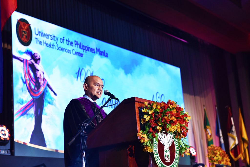 Supreme Court Associate Justice Marvic M.V.F. Leonen delivers the commencement address at UP Manila's graduation rites. (Photo by Abraham Arboleda, UP MPRO)