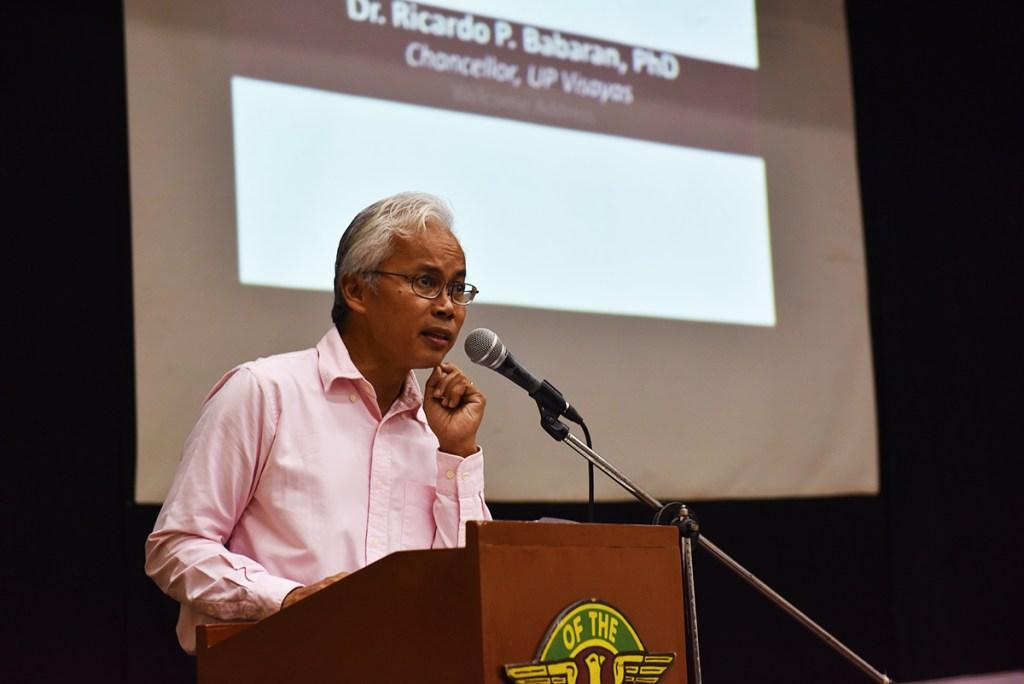 "UP Visayas Chancellor Ricardo Babaran formally welcomes to his campus the participants, whom he calls ""bida"" and ""sikat"". (Photo by Bong Arboleda, UP MPRO)"