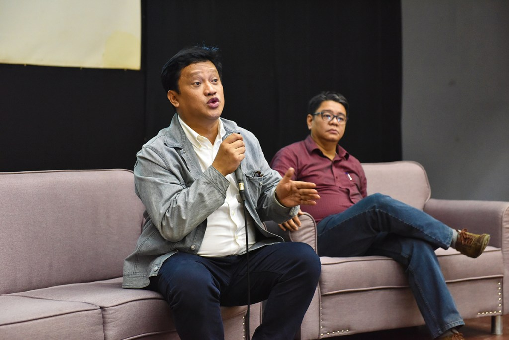 Regent Angelo Jimenez and Regent Frederick Mikhail Farolan talk about legal protection of personnel in the conduct of service and their protection at work and at home in times of disaster and climate change. (Photo by Bong Arboleda, UP MPRO)