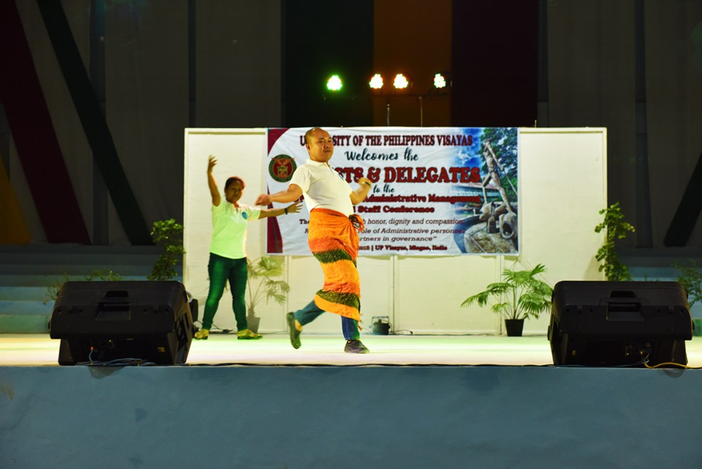Delegates from the UP campuses in Tacloban perform a courtship dance. (Photo by Bong Arboleda, UP MPRO)