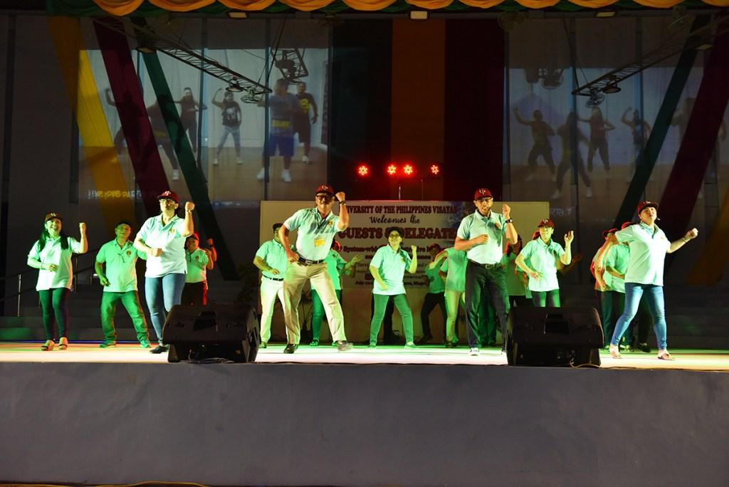 UP Los Baños delegates present a medley of modern dances. (Photo by Bong Arboleda, UP MPRO)