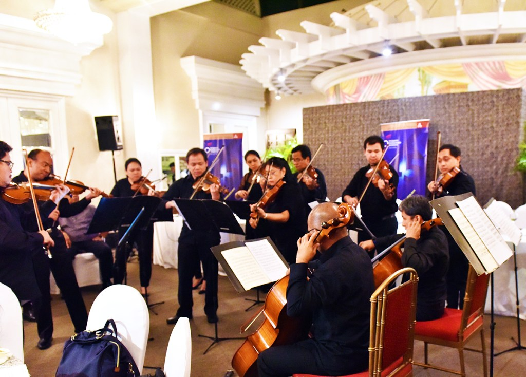 Some members of the Philippine Philharmonic Orchestra play excerpts from Vivaldi and Mozart compositions. (Photo by Bong Arboleda)