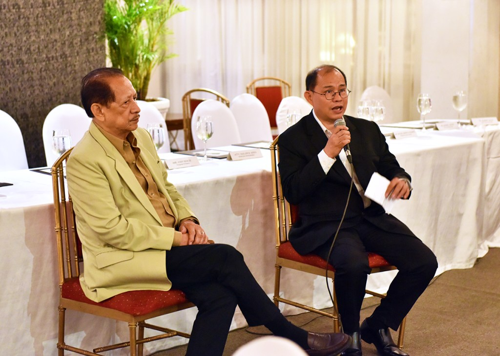 Cultural Center of the Philippines President Arsenio Lizaso and Philippine Philharmonic Orchestra conductor Herminigildo Ranera answer questions from the press. Ranera expresses hopes of the PPO collaborating with the UP Orchestra as they did three years ago. (Photo by Bong Arboleda, UP MPRO)