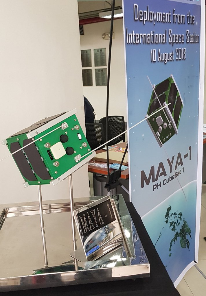 A replica of the country's first nanosatellite greeted viewers of the live broadcast. (Photo by Jun Madrid, UP MPRO)