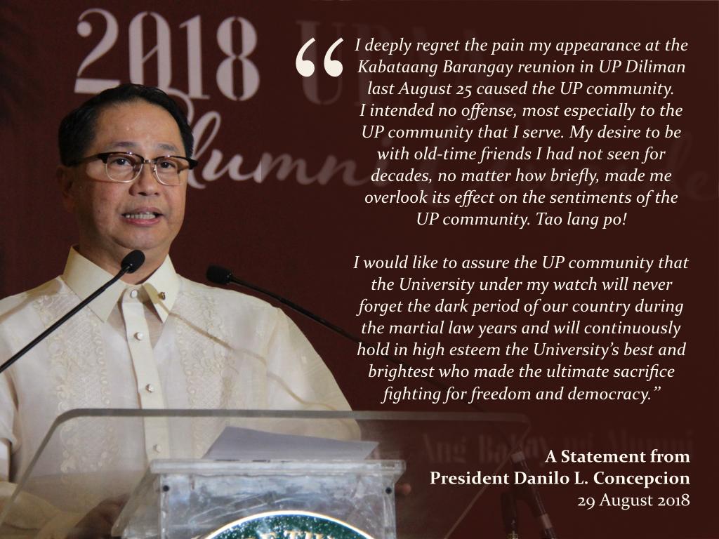 A Statement from President Danilo L. Concepcion
