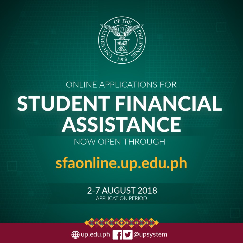 The Student Financial Assistance (SFA) Online is ready to accept applications for AY 2018-2019