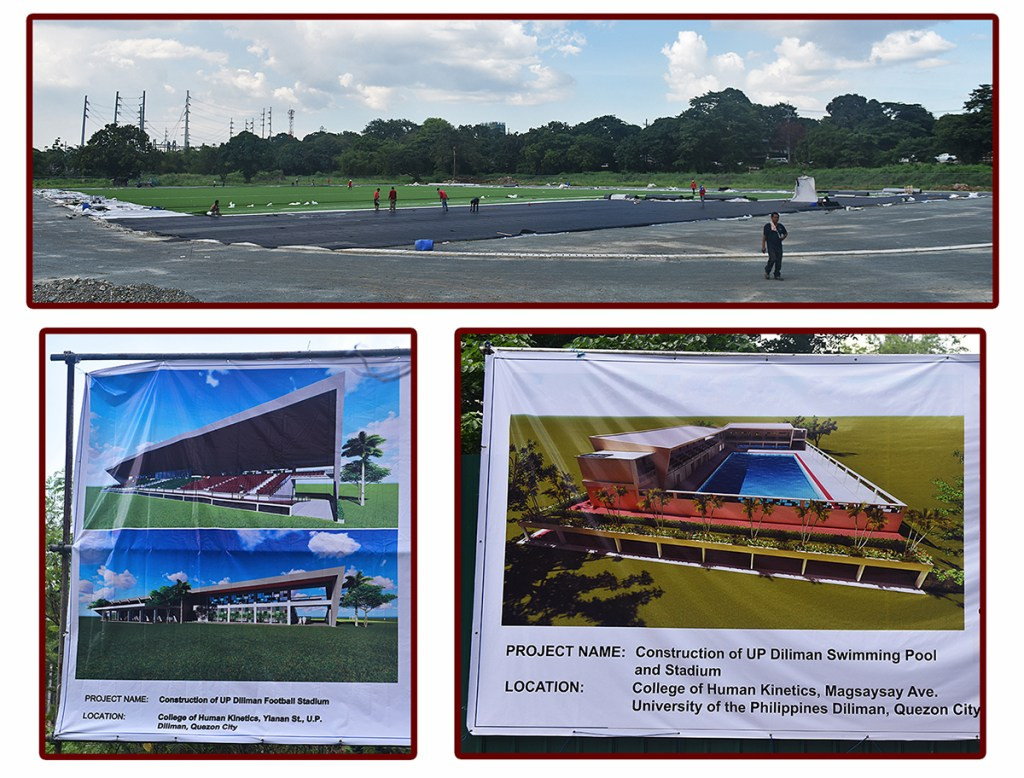 UP Diliman sports facilities, clockwise from top: photo of the football field construction taken in June 2018, a perspective of the olympic-size swimming pool expected to be finished in mid-2019, and perspectives of the football stadium (Photos by Abraham Arboleda, UP MPRO)