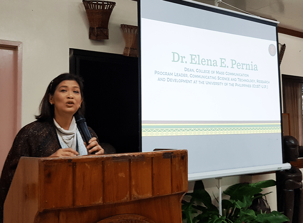 UP Diliman College of Mass Communication dean and CoST-UP program leader Dr. Elena E. Pernia describing the CoST-UP program under the UP EIDR Program during her closing remarks. (Photo by Celeste Llaneta, UPMPRO)